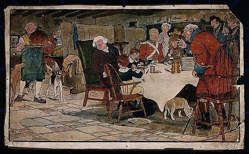 A family sit around a table eating their Christmas meal and Wellcome V0040154