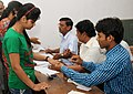 A first time voter being administered indelible ink, at a polling booth, during the 6th Phase of General Elections-2014, in Dausa, Rajasthan on April 24, 2014.jpg