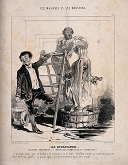 A man is treated to a cascade of water in the name of hydropathy Wellcome V0011765