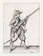 Aanwijzing 11 voor het hanteren van het musket - V musquet om hooch hout ende aenlegt (Jacob de Gheyn, 1607)