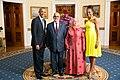 Abdel-Ilah Benkiran with Obamas 2014.jpg