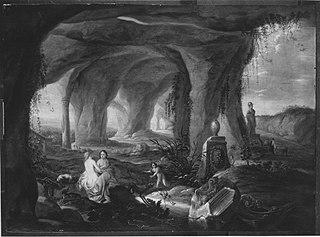 Badende Nymphen in einer Grotte (Art des)