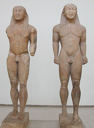 "Kleobis and Biton - The twin statues by Polymedes of Argos, conventionally known as ""Kleobis and Biton""."