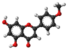 Ball-and-stick model of acacetin{{{画像alt1}}}