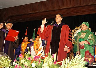 President of the University of the City of Manila - President Adel Tamano being administered the oath of office by Mayor Alfredo Lim on January 31, 2008.
