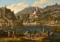 Adrien Manglard, A harbor with figures on a quay and a hill town beyond, oil on canvas.jpg