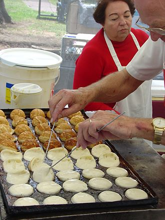 Pancake - Æbleskiver being prepared