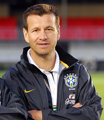 Brazil's 1994 World Cup winning captain Dunga was coach from 2006 to 2010 and 2014 to 2016. Aecio Neves e Dunga - 17-06-2008 (8368243127) (cropped).jpg