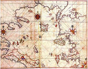 Mappa storica del mar Egeo di Piri Reìs
