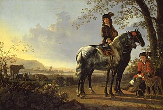 Horsemen resting in a landscape