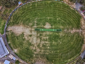 Blackburn, Victoria - Aerial topdown of the sporting oval at Morton Park, Blackburn