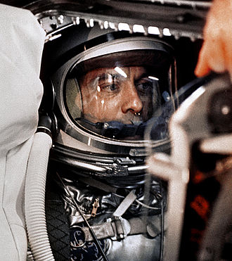Mercury-Redstone 3 - Image: Alan Shepard in capsule aboard Freedom 7 before launch 2