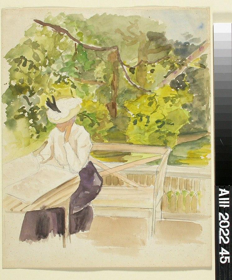 Lukeva nainen puutarhassa