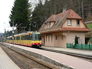 Alb Valley Railway - Frauenalb-Schielberg station in 2006. The station building dates from the early years of the line
