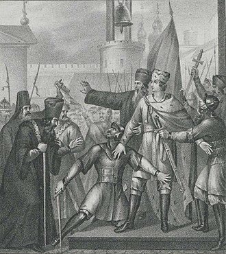 """Aleksandr Mikhailovich of Tver - """"Prince Alexander of Tver in Pskov"""", engraving by Boris Chorikov"""