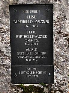 Alfred Bertholet-Schmid (1868–1951), Professor der Theologie. Grab auf dem Friedhof Wolfgottesacker, Basel