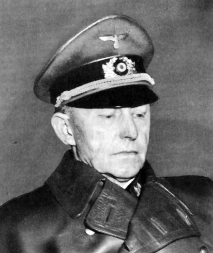 German general Alfred Jodl wearing black leather trenchcoat - World War II German uniform