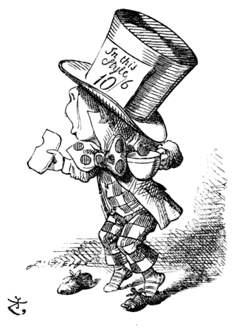 Hatter (Alice's Adventures in Wonderland) - The Hatter enjoying a cup of tea and biscuit, by Sir John Tenniel.
