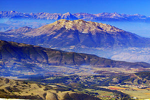 Climate of Kosovo - The view of Opoja region on the bottom, lower section of Koritnik, and Pashtrik mountain in the centre.