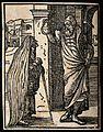 An alchemist (?) holding up a 'urinal' (a glass vessel) to a Wellcome V0025528.jpg