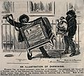 An organ-grinder is carrying a very large organ down the str Wellcome V0040383.jpg