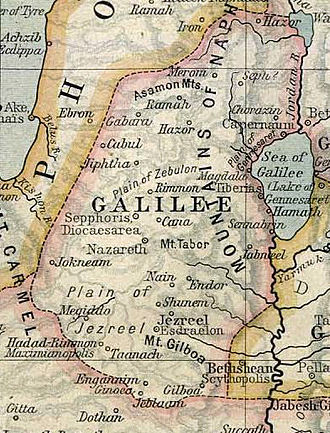 Galilee - Map of Galilee, circa 50 CE
