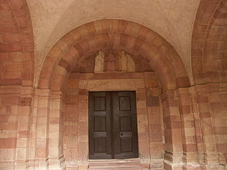 Andlau Abbey - Romanesque portal of the church.