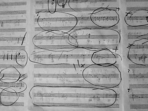 """Andreas Paolo Perger - Sketches of chords and motives for improvised composition like """"Concert for 5.1 concert guitar"""", """"Relief"""", and """"Gravur/ Gravure""""."""