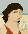 "Andrew Stevovich oil painting, Loretta with Sand Dollar, 2007, 5.25"" x 4.25"".jpg"