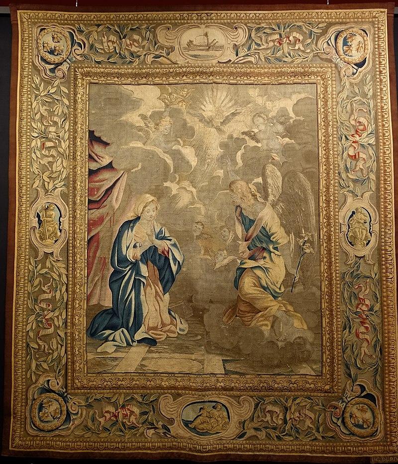 Annunciation, from the Life of Christ, Barberini Tapestries, Rome, 1644-1656 - Jordan Schnitzer Museum of Art, University of Oregon - Eugene, Oregon - DSC09440.jpg