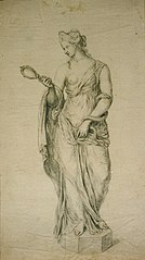 Drawing of a statue of Prudence