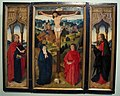 Anonimo fiammingo, trittico con la crocifissione e santi, xvi sec.JPG