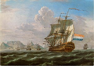 Landmark - An 18th-century painting of a VOC ship with Table Mountain in the background, used by navigators as the landmark to sail around southern tip of Africa.
