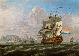 Spice trade - Dutch ships in Table Bay docking at the Cape Colony at the Cape of Good Hope, 1762.