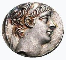 Eine Münze mit dem Porträt des seleukidischen Königs Antiochus X.