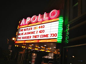 Apollo Theatre (Oberlin, Ohio) - The Apollo Theater's iconic marquee at night.