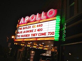 Apollo Theatre (Oberlin, Ohio) - The Apollo Theater's iconic marquee at night.