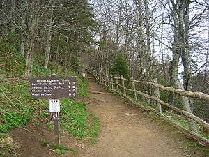 The Boulevard Trail - The starting point on the hike to Mount Le Conte is here at the Appalachian Trail, which leads into The Boulevard Trail shortly into the hike.