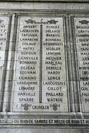 Battle of Grandreng - The names of Poncet, Marceau, Hardy and Lorge are on Column 6 of the Arc de Triomphe.