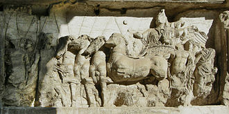 Jupiter (mythology) - Triumphator in his four-horse chariot, from the Arch of Titus