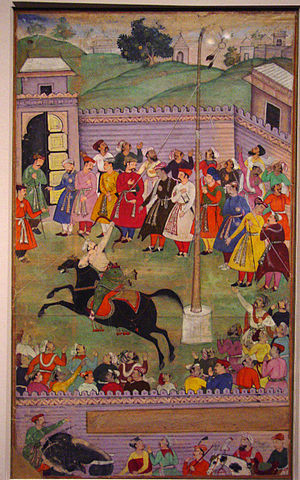Mughal tribe - Mughal warriors practicing horseback archery. (Akbarnama)