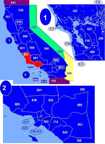 Map of California area codes in blue (and border states) with 805 in red