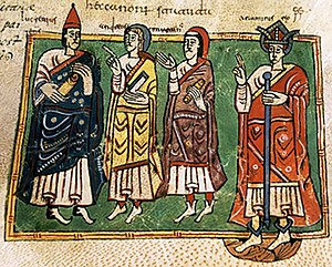 Kingdom of the Suebi - King Ariamir with the bishops Lucrecio, Andrew, and Martin, during the first Council of Braga. Codex Vigilanus or Albeldensis, Escurial library