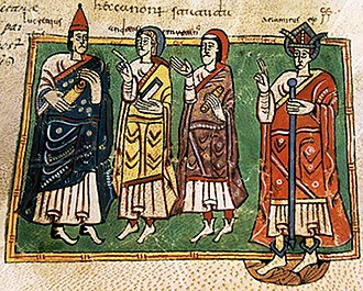 Kingdom of Galicia - Theodemar (or Ariamir), king of Galicia with the bishops Lucrecio, Andrew, and Martin. Codex Vigilanus (or Albeldensis), Escurial library