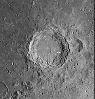 Aristoteles (crater) - Lunar Orbiter 4 image of Aristoteles (large crater) and Mitchell (smaller one to the right)