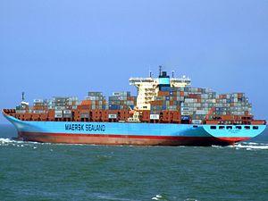 Arnold Maersk P6, leaving Port of Rotterdam, Holland 19-Jul-2007.jpg
