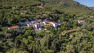 Nature Park of Arrábida - The isolated complex of buildings of the Convent of Nossa Senhora da Arrábida, surrounding by the endemic natural vegetation