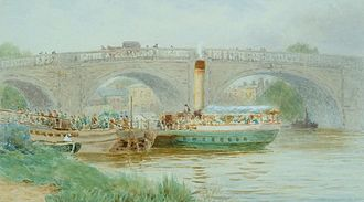 Kew Bridge - Arrival of a steamer at the Old Kew Bridge by Lewis Pinhorn Wood