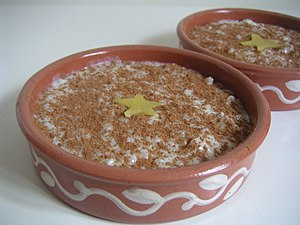 Desert made with rond riz, milk and sugar, fla...