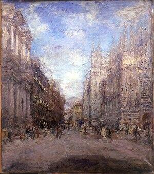 Luigi Mantovani - Corso Vittorio Emanuele a Milano, 1924 (Art collections of Fondazione Cariplo)